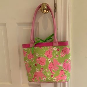 Lilly Pulitzer Pink & Green Elephant Tote